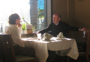 Discussing poetry with former Poet Laureate of the U.S. Billy Collins (photo by Martha Halda)