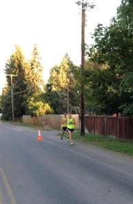 Half marathon race leaders at 7-mile mark