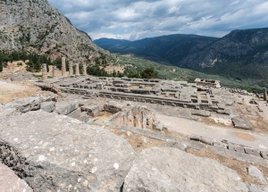 The Temple of Delphi, the centerpiece of the novel, where Lauren and Zack are pulled through the portal.