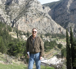 Passage at Delphi author AK Patch, doing book research on location in Greece
