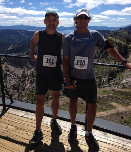 Craig and I at the top of Squaw Valley's gondola lift, elev.  8,900 feet, aka the finish line of the Montrail 6K.