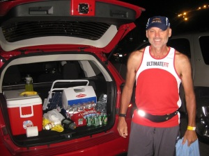 Dave, in front of the fully loaded crew SUV. We'd load and unload the back many times in the next 30 hours.