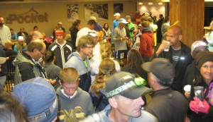 Competitors mingling at 4:30 a.m. on race morning.