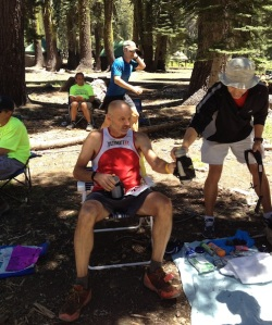 Where did the smile go? At mile 30, Dave looked tired and depleted. The realization of Western States' physical brutality had set in.