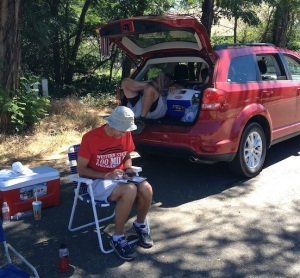 Craig figures out our revised pacing plan and the pace Dave needs to run, while Don does what any normal person would do on a beautiful, lazy summer afternoon in the Sierras.
