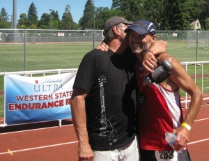 What it's all about – the Nichols brothers, moments after Dave crossed the finish line. A very touching moment.
