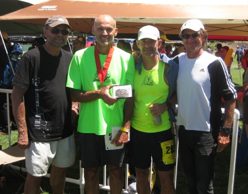 And with that, your hosts for this 100-mile Western States odyssey sign off, with our lead warrior, Dave Nichols, second from the left.