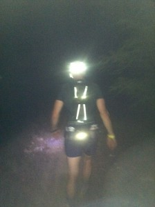 A Western States competitor, all lit up. Headlamps and flashlights got us through the night.