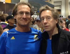 The King and I: With Bill Rodgers at 2014 Boston Marathon, after he gave me his invitational entry so I could run the most important Boston ever.