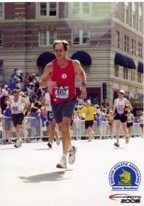 Near the finish line of the 2005 Boston Marathon