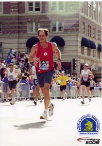 Near the finish line of the 2005 Boston Marathon